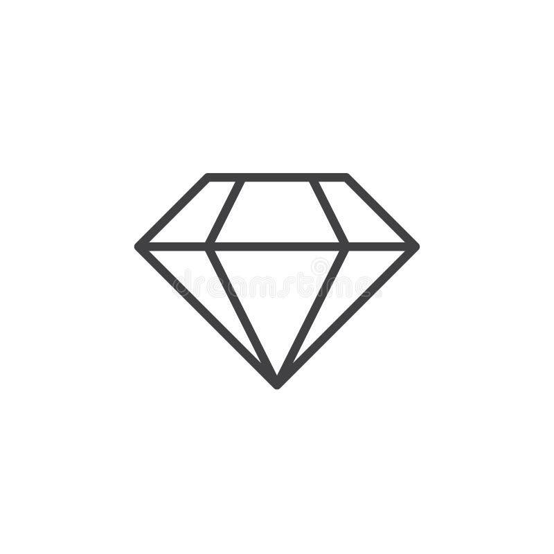 Het pictogram van de diamantlijn, de briljante illustratie van het overzichtsembleem, l vector illustratie