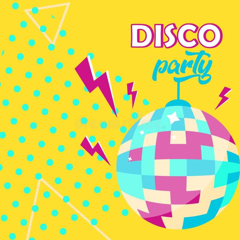 Het pictogram van de discobal De affiche van de discopartij stock illustratie