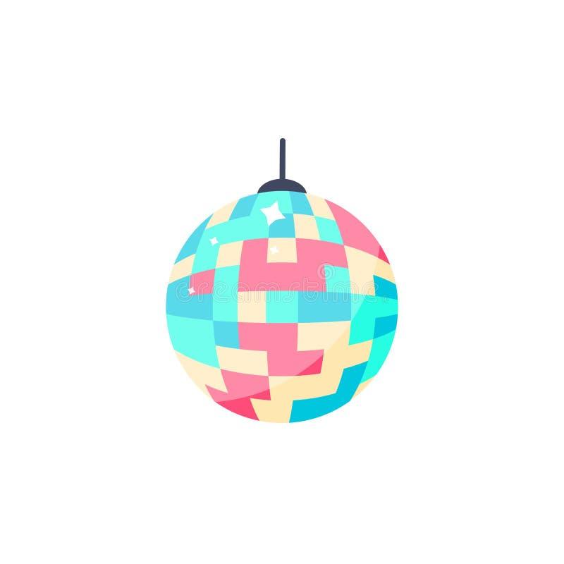 Het pictogram van de discobal Geïsoleerde kleurrijke bal voor partij royalty-vrije illustratie