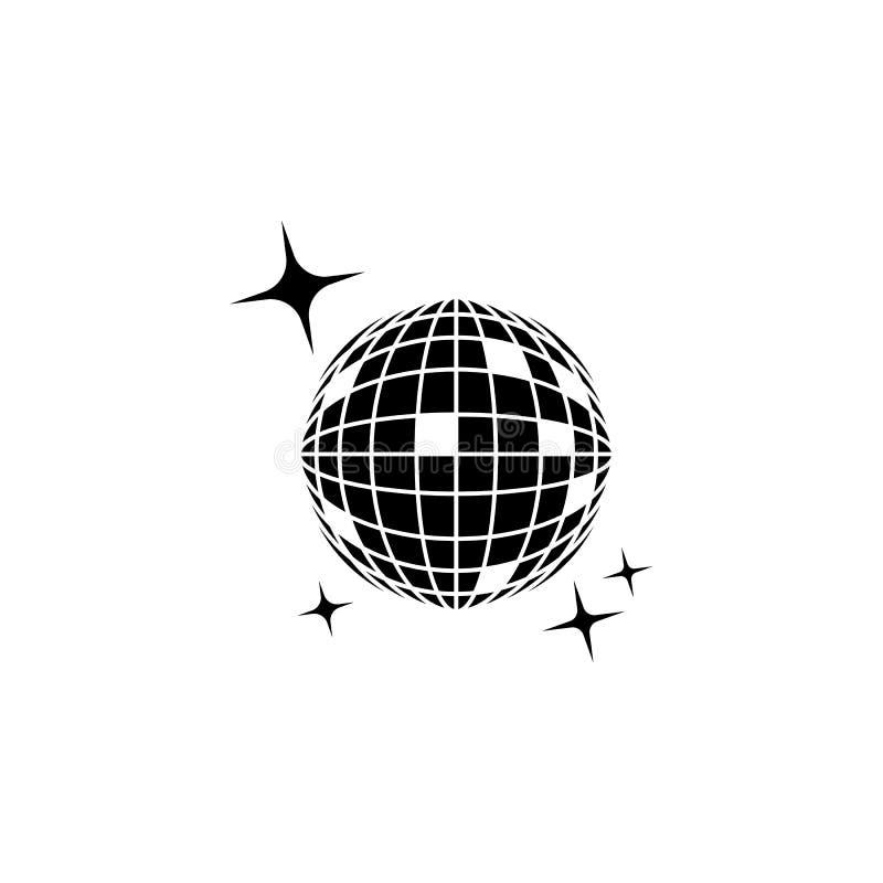 Het pictogram van de discobal Het pictogram van de nachtclub Element van plaats van vermaakpictogram Het grafische ontwerp van de royalty-vrije illustratie