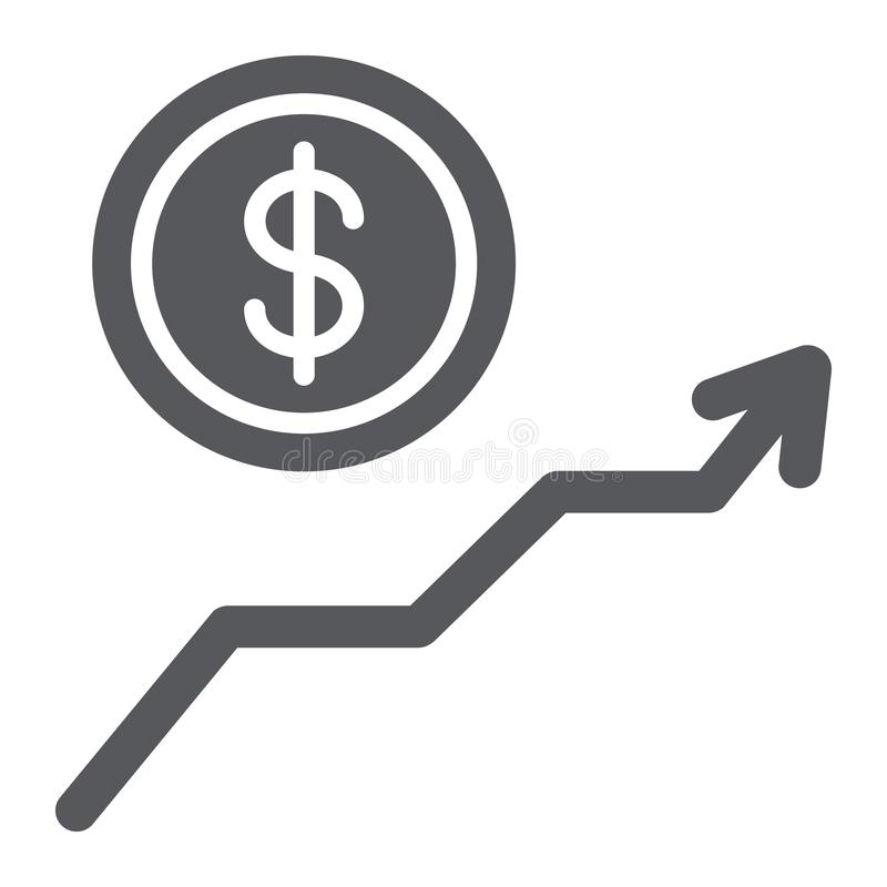 Het pictogram van de dollargroei glyph, financieel en grafiek, het teken van de geldverhoging, vectorafbeeldingen, een stevig pat stock illustratie