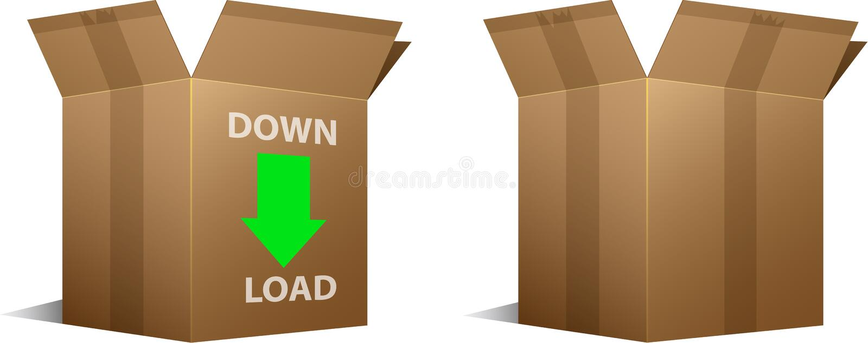 Het pictogram van de download en lege kartondozen vector illustratie
