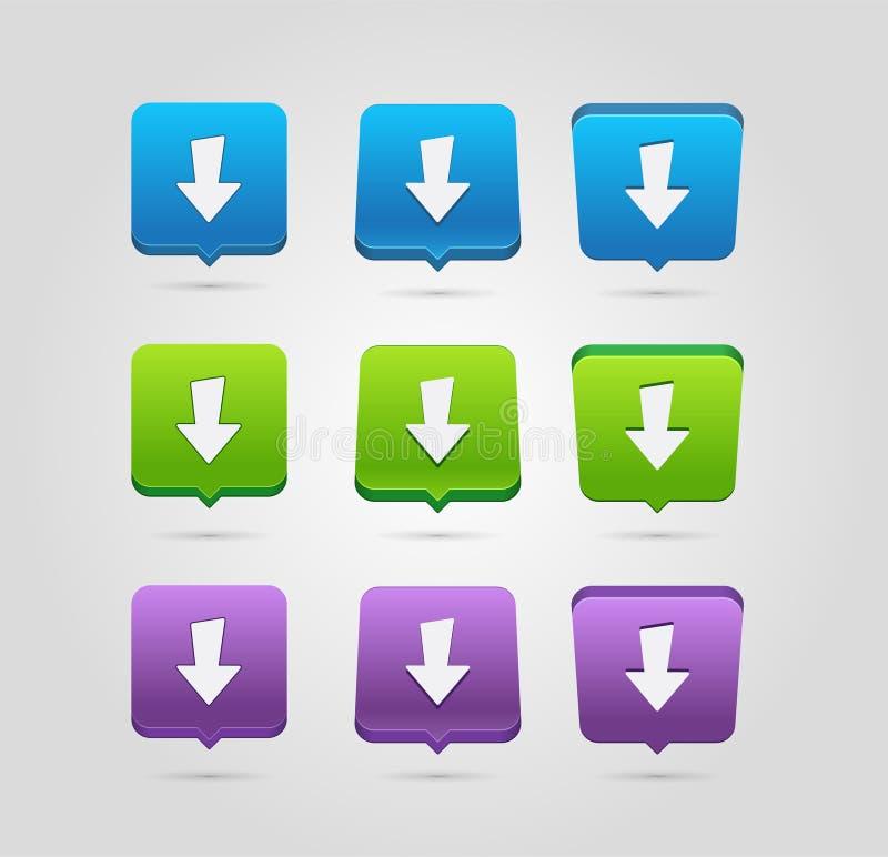 Het pictogram van de download Upload knoop Ladingssymbool Rond gemaakte vierkantenknopen royalty-vrije illustratie