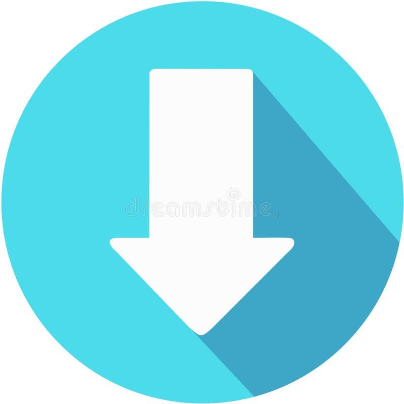 Het pictogram van de download Upload knoop Ladingssymbool Ronde Knoop Vector Pijlpunt aan neer vector illustratie