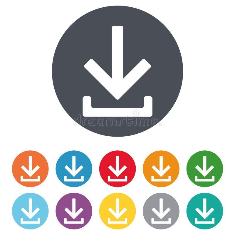 Het pictogram van de download Upload knoop Ladingssymbool vectoreps10 op witte achtergrond royalty-vrije illustratie