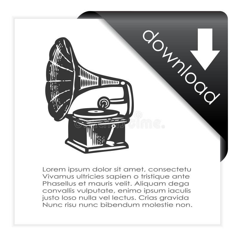 Het pictogram van de downloadmuziek vector illustratie