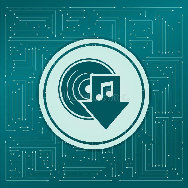 Het pictogram van de downloadmuziek op een groene achtergrond, met pijlen in verschillende richtingen Het lijkt de elektronische  vector illustratie