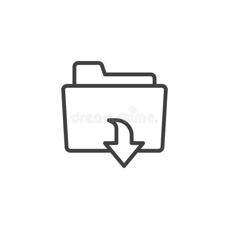 Het pictogram van het de downloadoverzicht van de dossieromslag vector illustratie