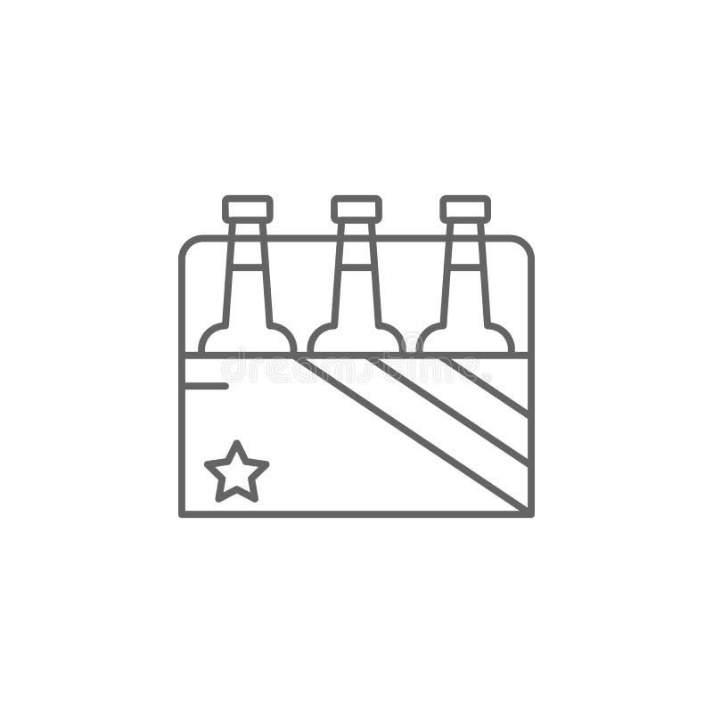 het pictogram van het de drankoverzicht van de bierfles Elementen van de illustratiepictogram van de onafhankelijkheidsdag De tek vector illustratie