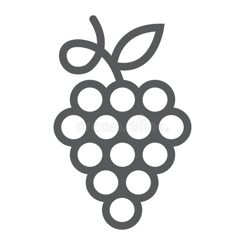 Het pictogram van de druivenlijn, fruit en installatie, wijnteken, vectorgrafiek, een lineair patroon op een witte achtergrond vector illustratie
