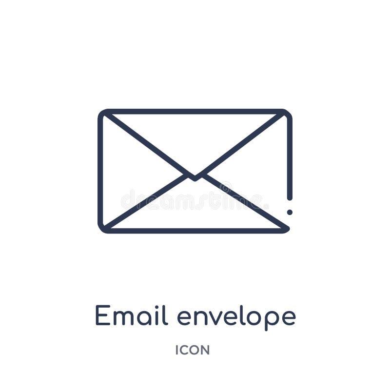 het pictogram van de e-mailenvelopknoop van de inzameling van het gebruikersinterfaceoverzicht Dun de knooppictogram van de lijne royalty-vrije illustratie