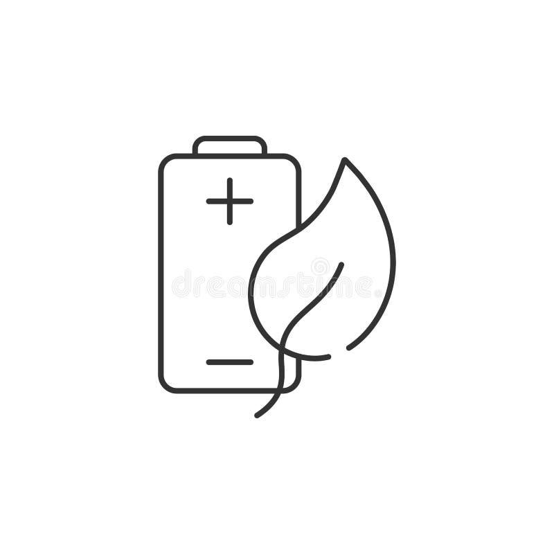 Het pictogram van de Ecobatterij Eenvoudige elementenillustratie Het symboolontwerp van de Ecobatterij van de reeks van de Ecolog royalty-vrije illustratie