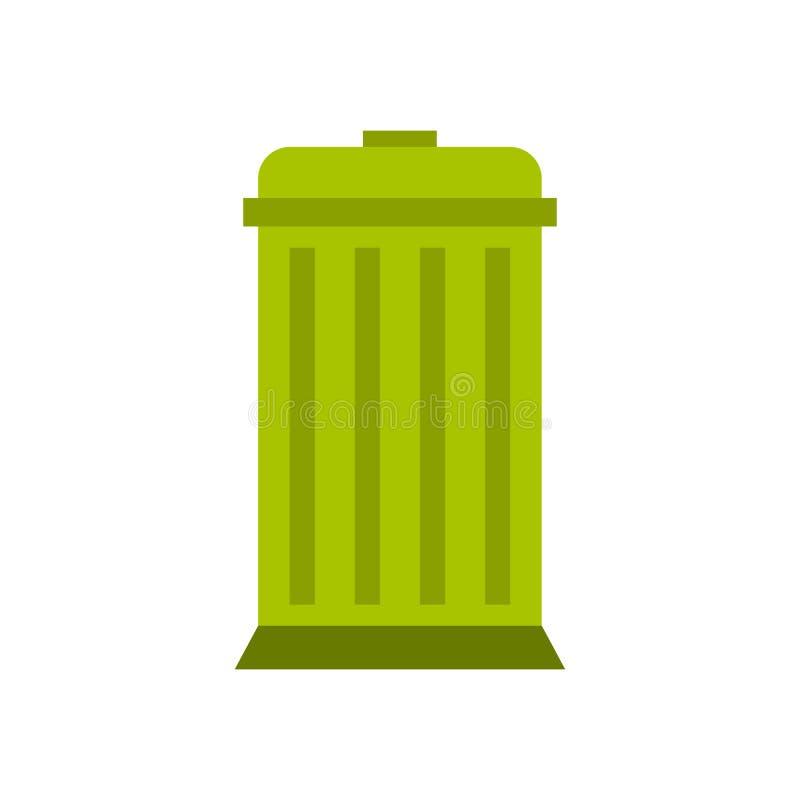 Het pictogram van de Ecovuilnisbak, vlakke stijl stock illustratie
