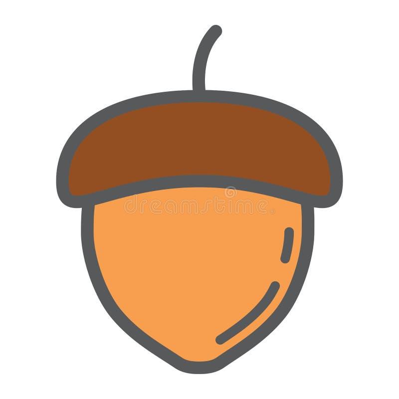 Het pictogram van de eikellijn, noot en voedsel, vectorgrafiek stock illustratie
