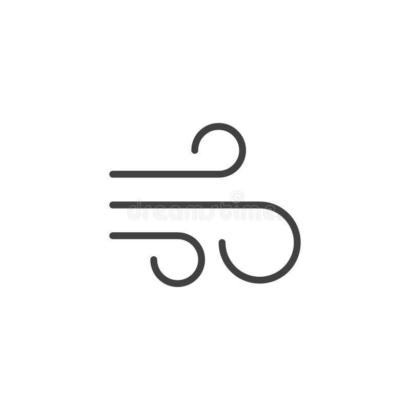 Het pictogram van de het elementenlijn van de luchtaard royalty-vrije illustratie