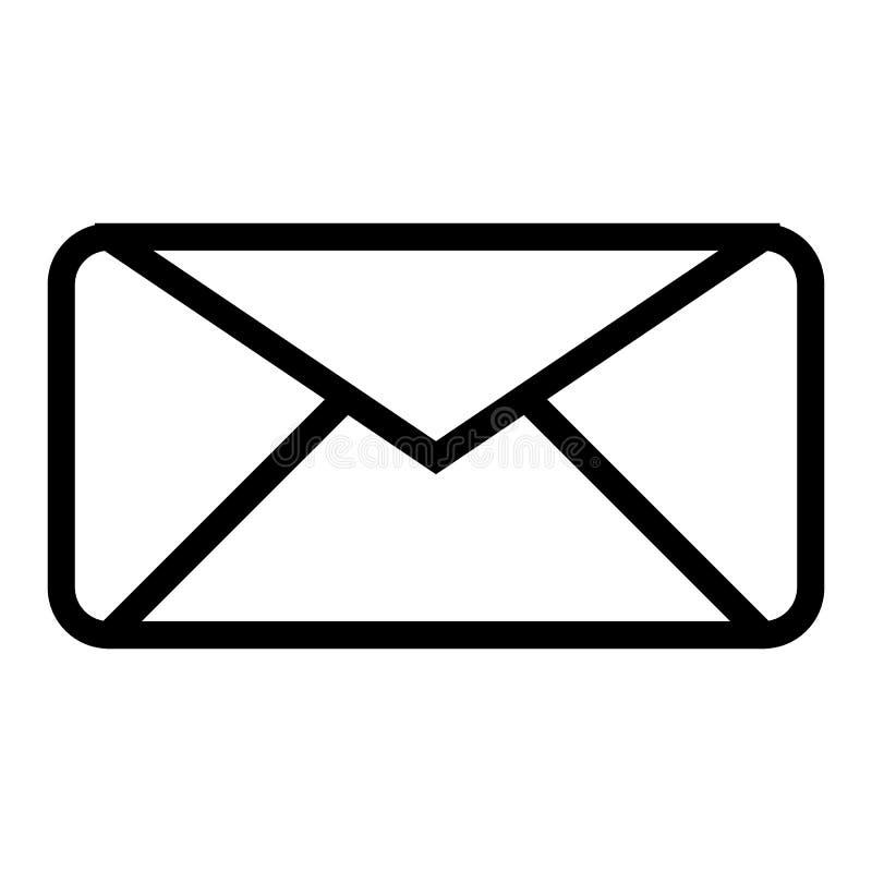 Het Pictogram van de enveloplijn Brieven vectordieillustratie op wit wordt geïsoleerd Het ontwerp van de e-maildieoverzichtsstijl vector illustratie