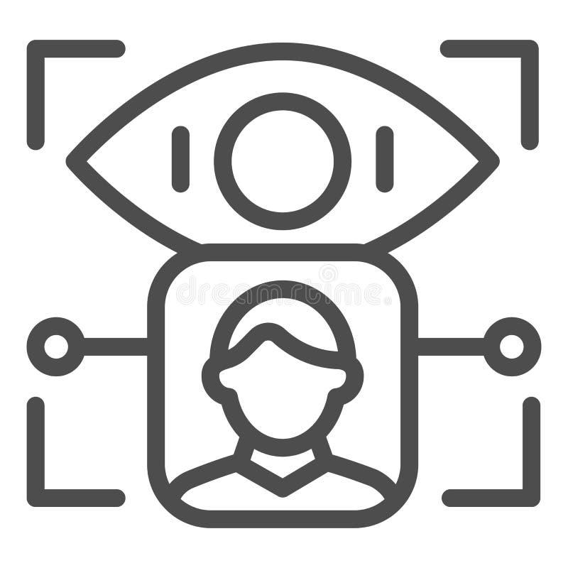 Het pictogram van de de erkenningslijn van de persoonsretina De identificatie vectordieillustratie van het gebruikersoog op wit w vector illustratie