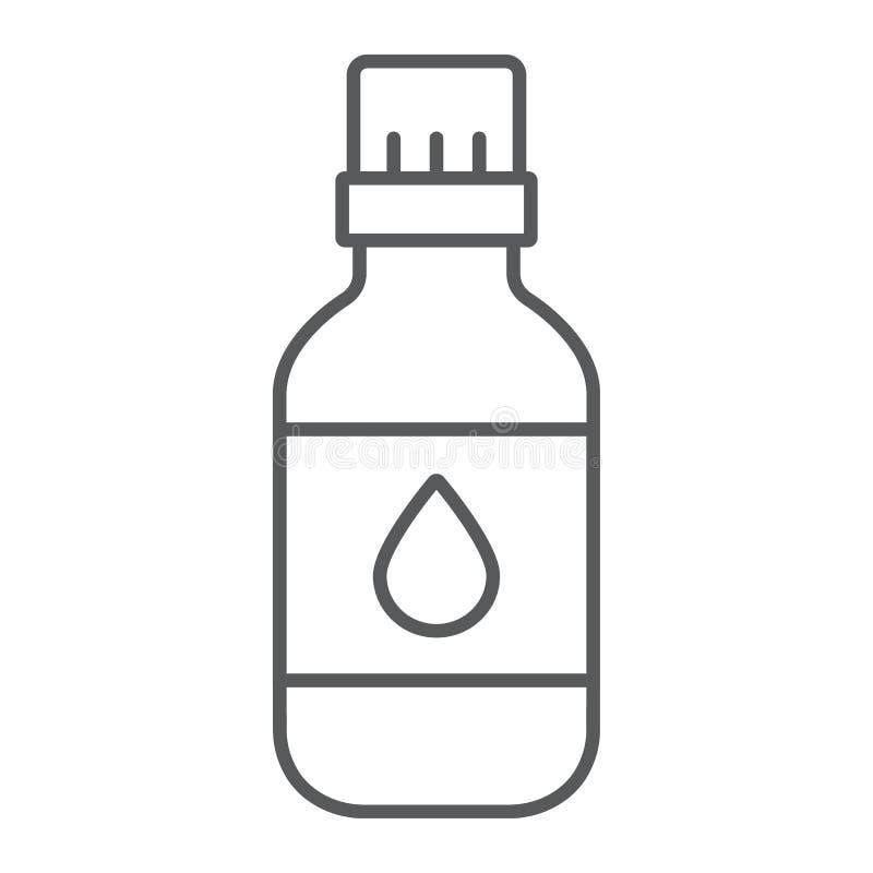 Het pictogram van de etherische olie dun lijn, aromatherapy en kosmetische, aromatische olieteken, vectorafbeeldingen, een lineai vector illustratie
