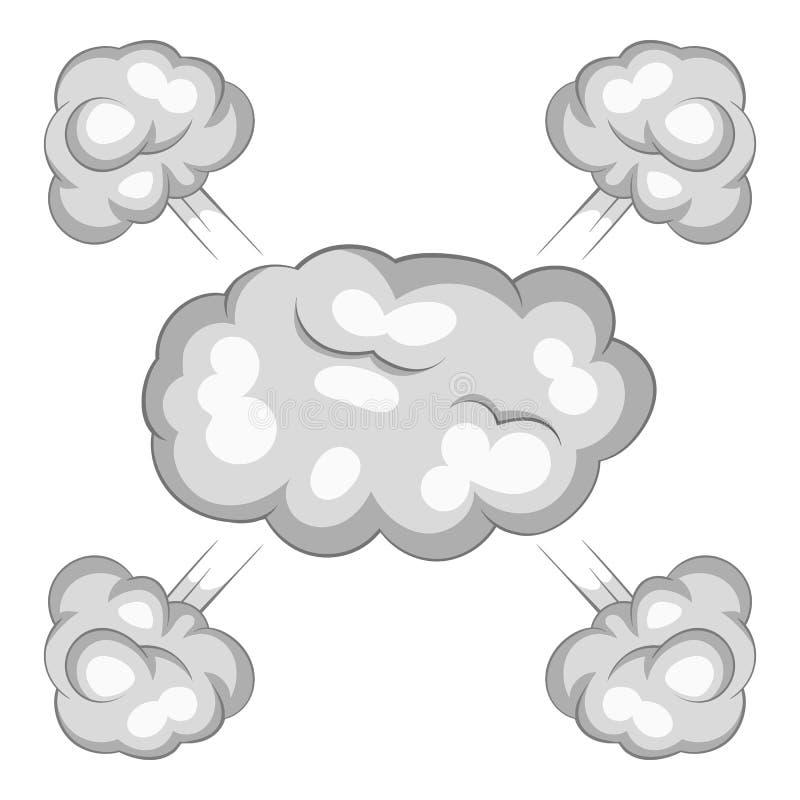 Het pictogram van de explosiewolk, beeldverhaalstijl vector illustratie