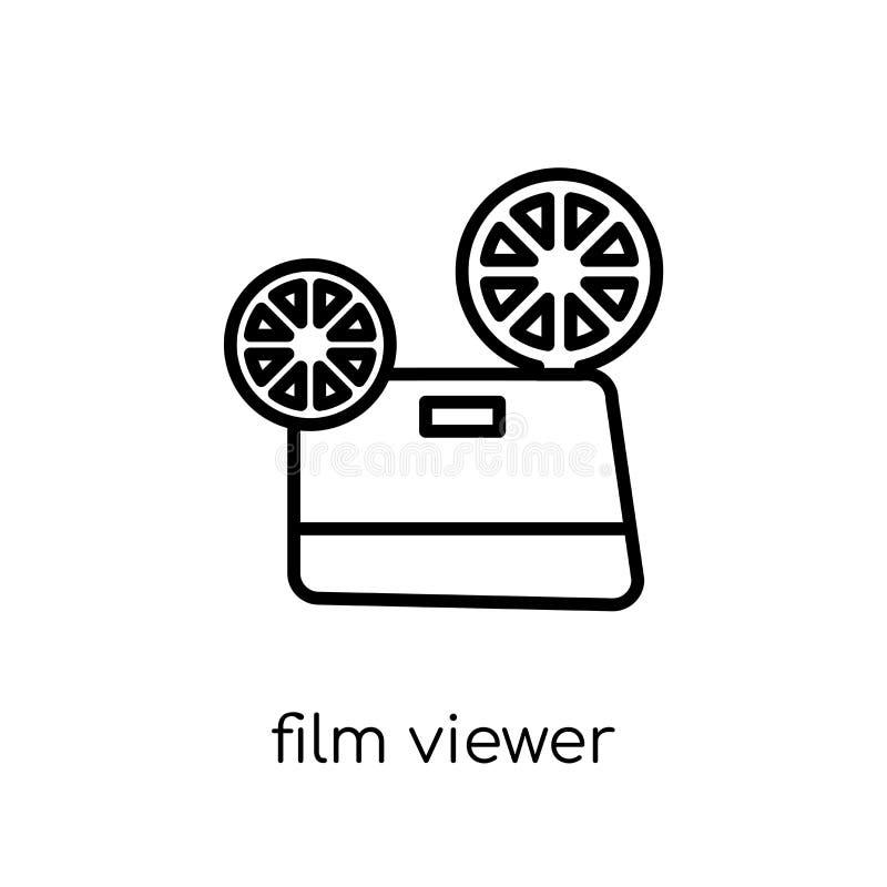 Het pictogram van de filmkijker In moderne vlakke lineaire vectorfilmkijker i stock illustratie