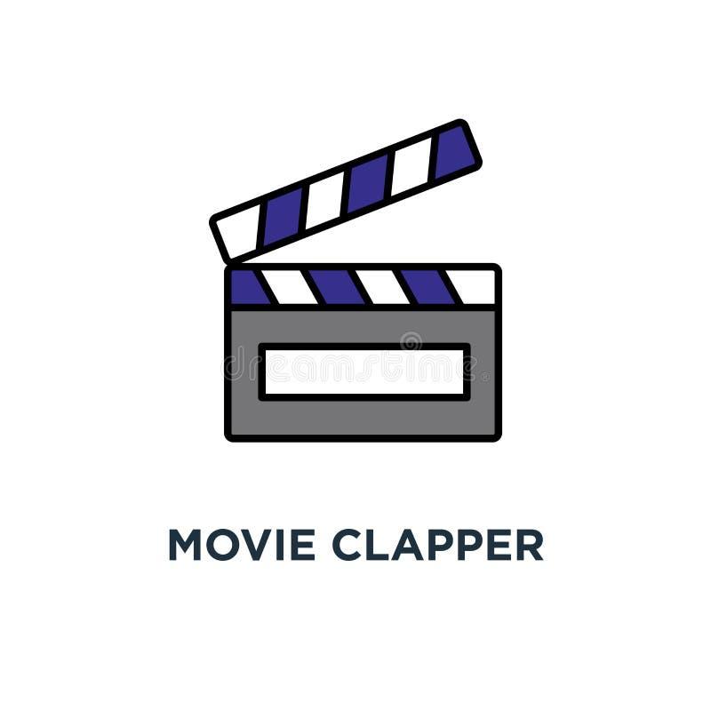 Het pictogram van de filmklep clapperboard, bioskoop, cinematografie, overzicht, het ontwerp van het conceptensymbool, film, film stock illustratie