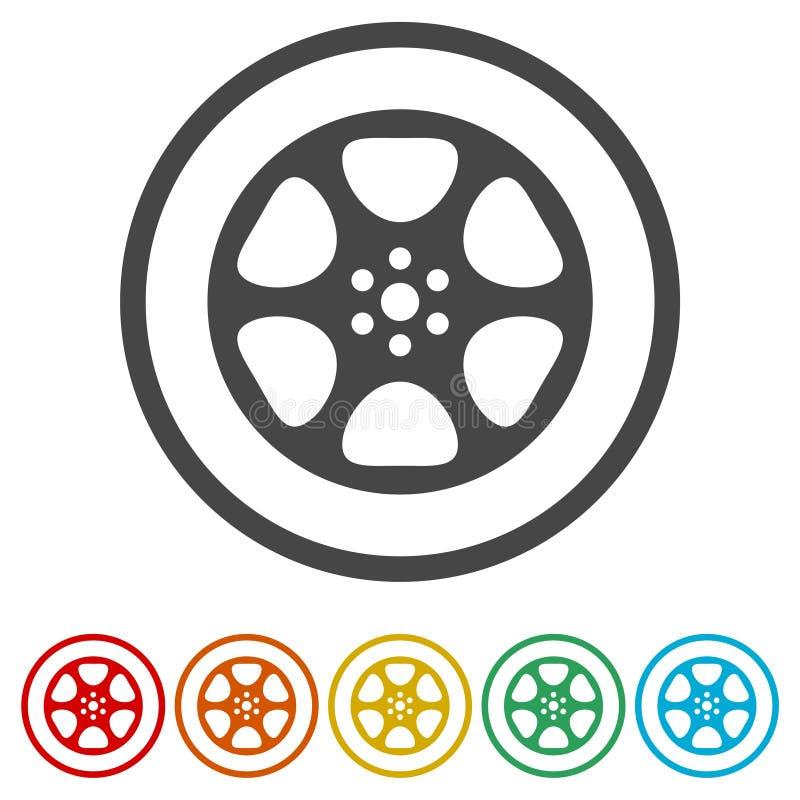 Het pictogram van de filmspoel, het videopictogram, Vlak Filmsymbool, 6 Inbegrepen Kleuren vector illustratie
