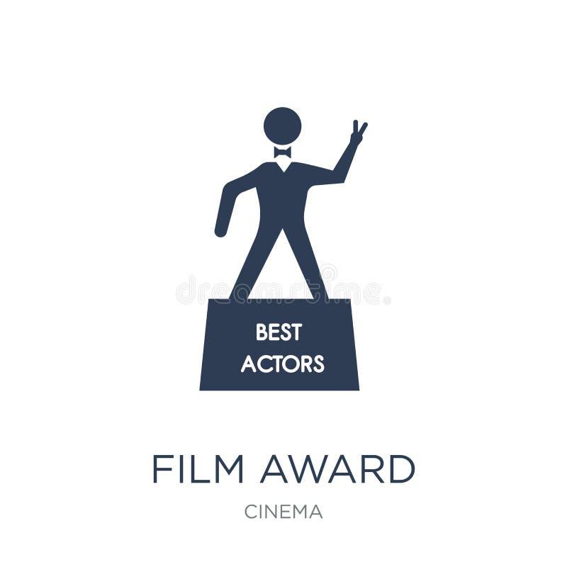 het pictogram van de filmtoekenning Het in vlakke vectorpictogram van de filmtoekenning op witte bac royalty-vrije illustratie