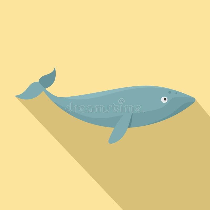 Het pictogram van de Finbackwalvis, vlakke stijl stock illustratie