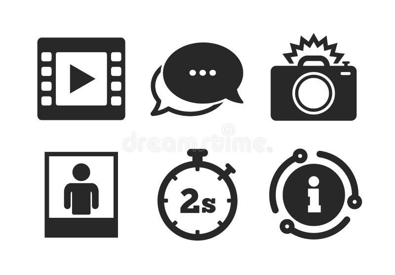 Het pictogram van de fotocamera Flits licht en videokader Vector stock illustratie
