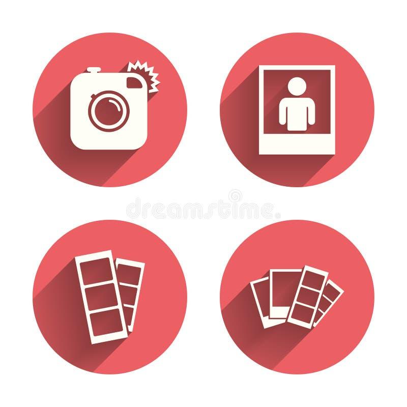 Het pictogram van de fotocamera Flitslicht en selfie kader vector illustratie