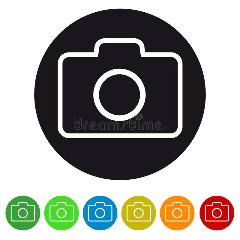 Het pictogram van de fotografiecamera voor apps en websites stock illustratie