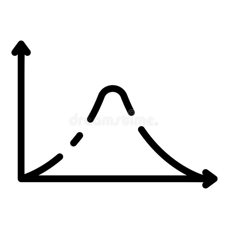 Het pictogram van de de functiegrafiek van de gausshistogram, overzichtsstijl royalty-vrije illustratie