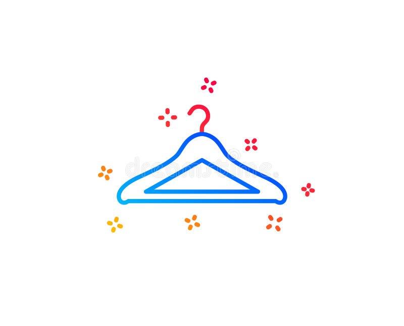 Het pictogram van de garderobelijn Het teken van de hangergarderobe Vector stock illustratie