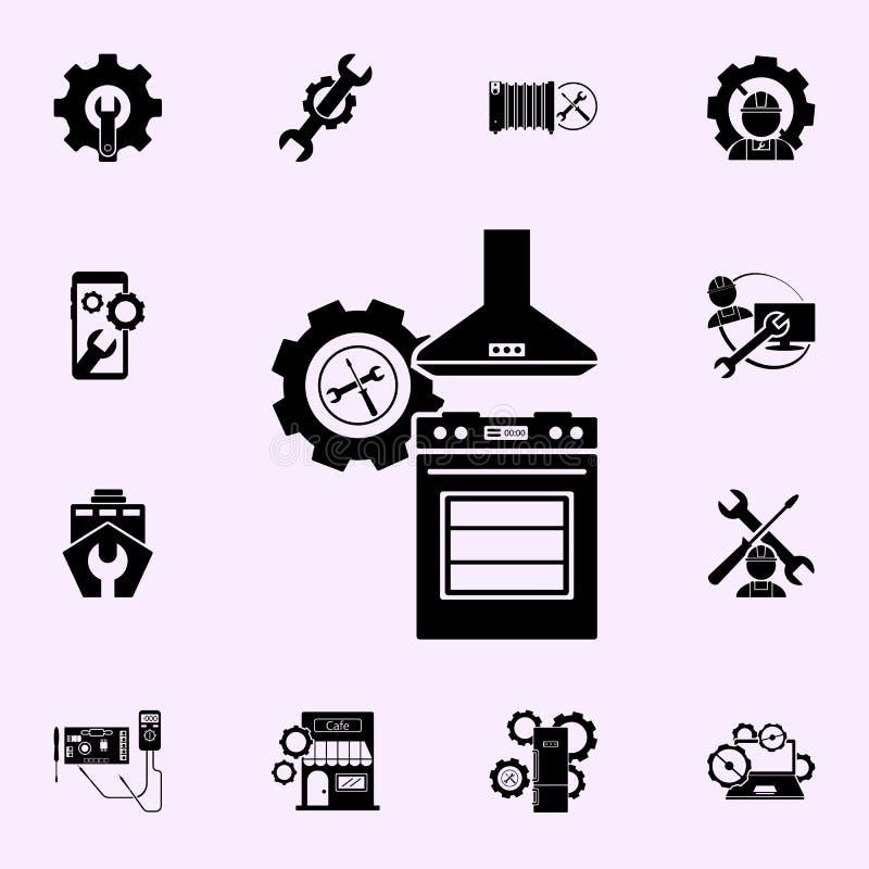 Het pictogram van de gasfornuisreparatie Voor Web wordt geplaatst dat en het mobiele algemene begrip van reparatiepictogrammen stock illustratie