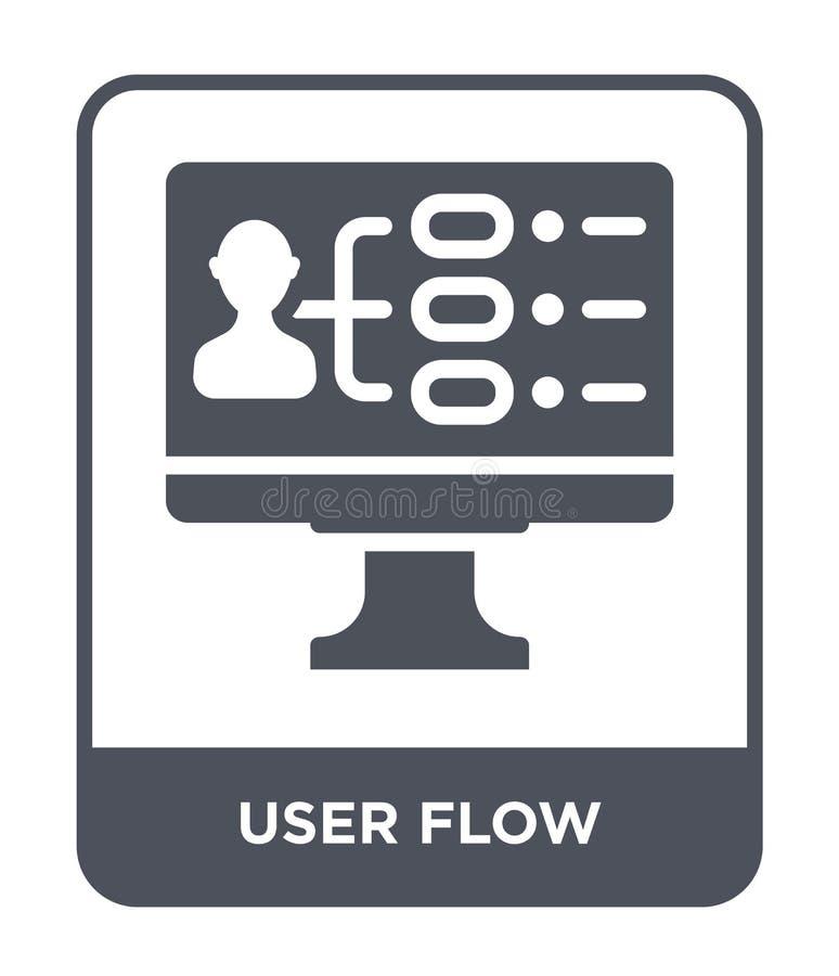 het pictogram van de gebruikersstroom in in ontwerpstijl het pictogram van de gebruikersstroom op witte achtergrond wordt geïsole stock illustratie