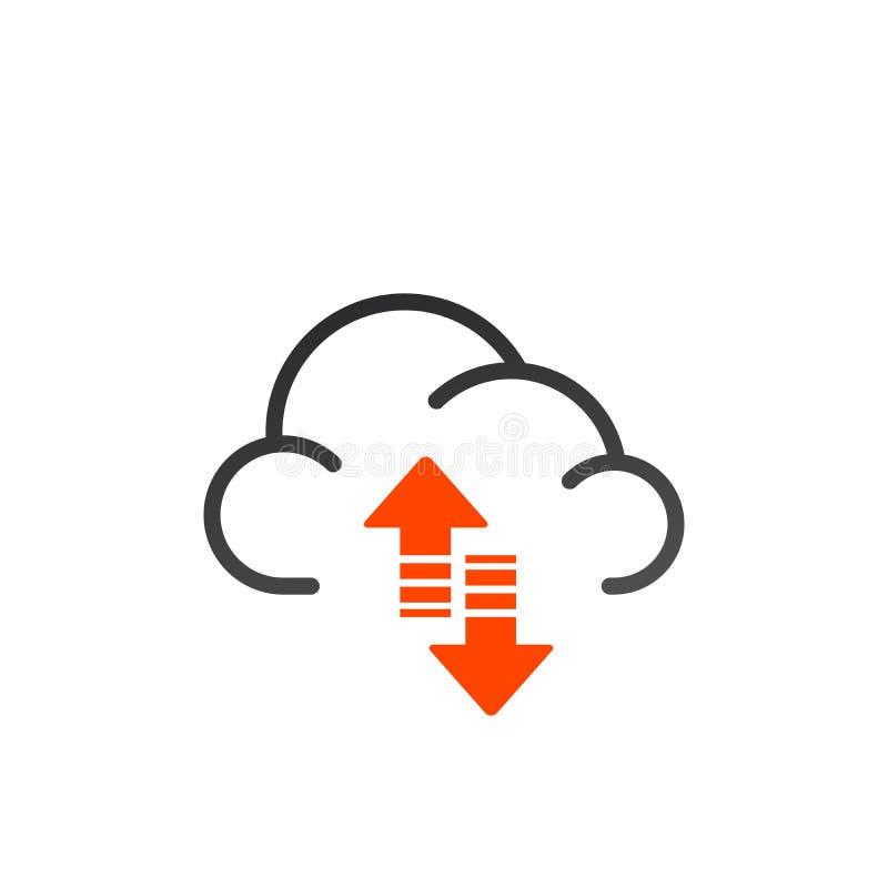 Het pictogram van de gegevenswolk De steun en herstelt teken De steun en herstelt gegevens betrekt Upload aan en download van geg royalty-vrije illustratie