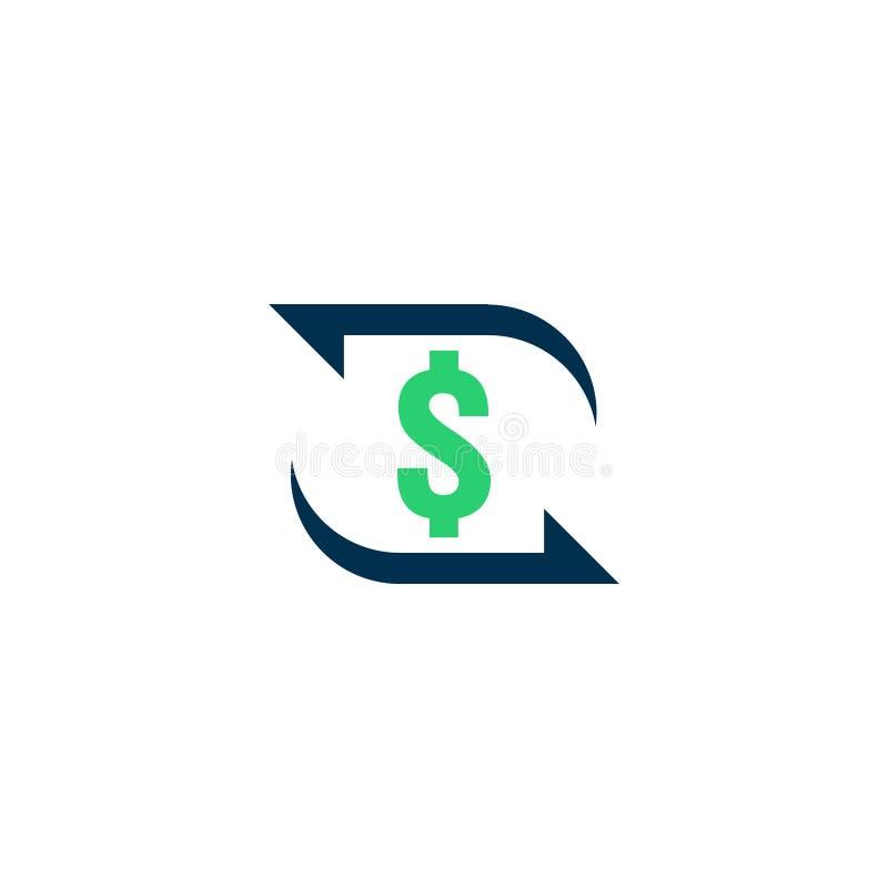 Het pictogram van de geldoverdracht Het teken van de Chargebackcontour het snelle achtersymbool van het fondsencontante geld De m royalty-vrije illustratie