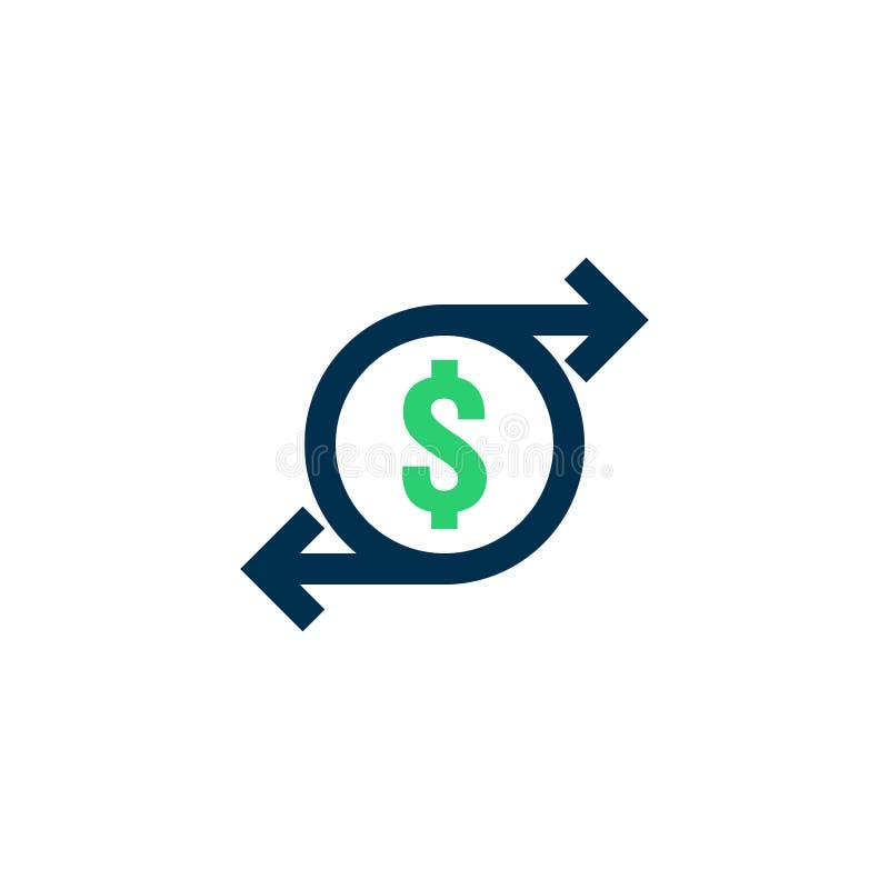 Het pictogram van de geldoverdracht Het teken van de Chargebackcontour het snelle achtersymbool van het fondsencontante geld De m vector illustratie