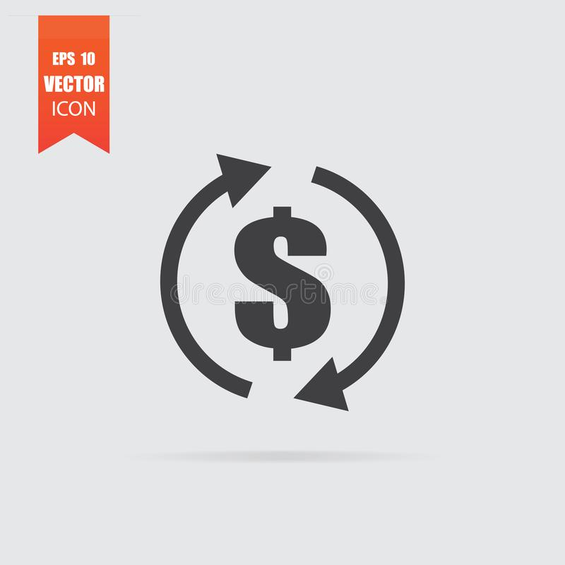 Het pictogram van de geldoverdracht in vlakke die stijl op grijze achtergrond wordt geïsoleerd royalty-vrije illustratie