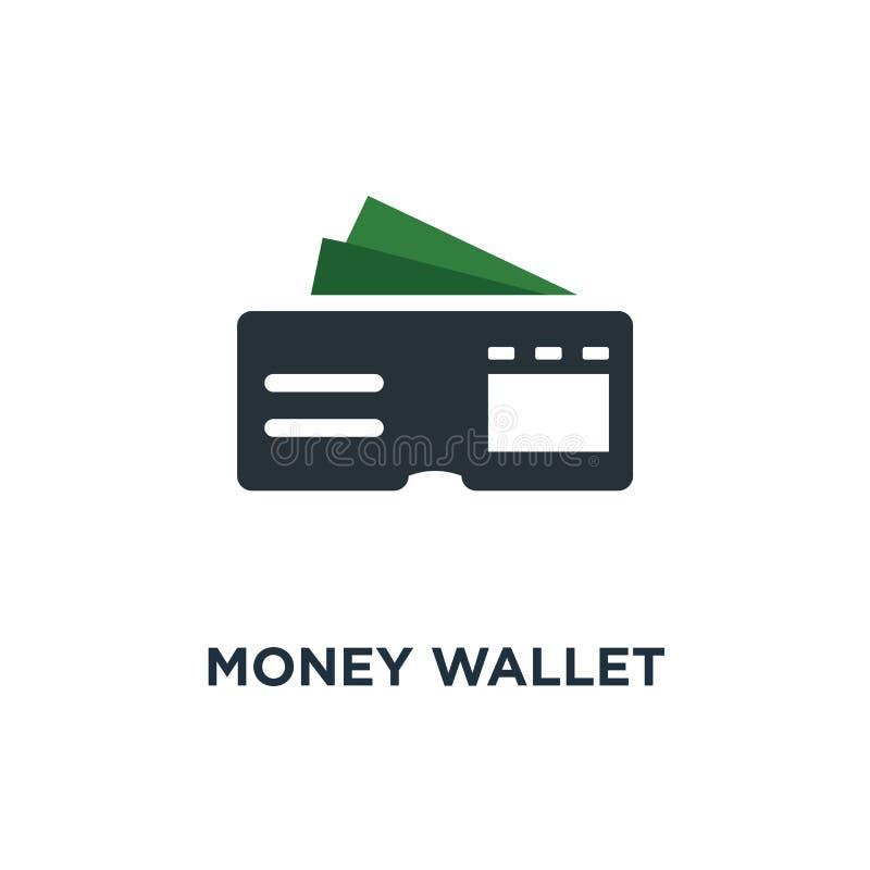 Het pictogram van de geldportefeuille het ontwerp van het het conceptensymbool van de geldportefeuille, vectoril stock illustratie