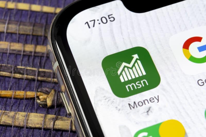 Het pictogram van de het geldtoepassing van Microsoft MSN op Apple-iPhone X het close-up van het smartphonescherm Het geldapp van royalty-vrije stock afbeeldingen