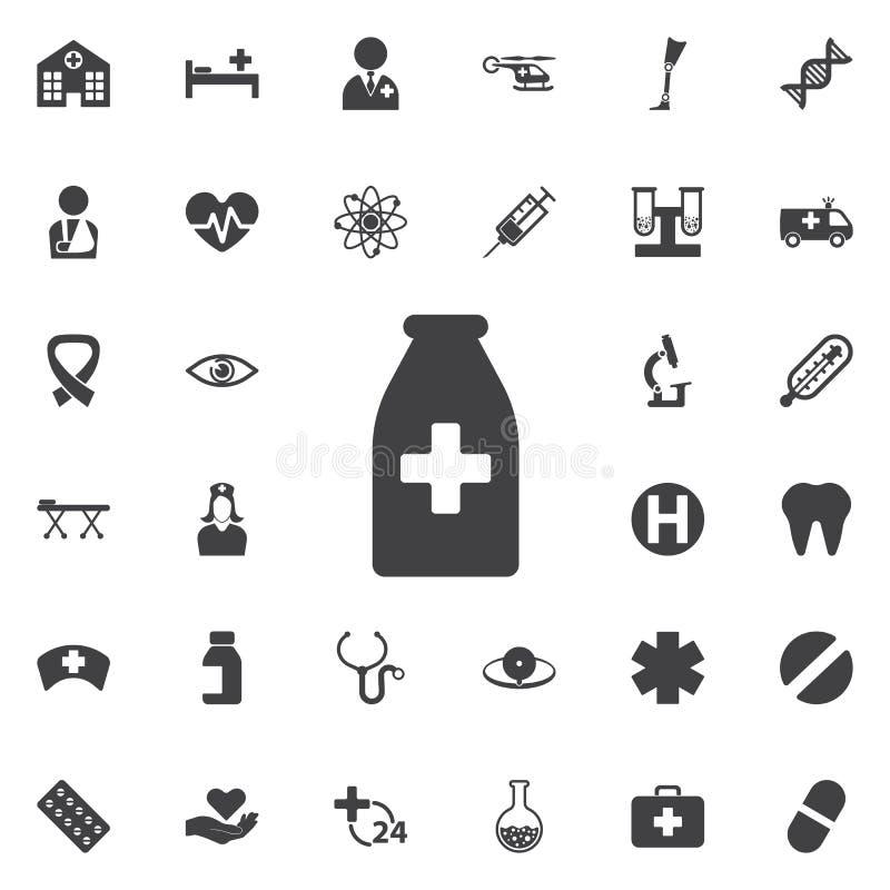 het pictogram van de geneeskundefles vector illustratie