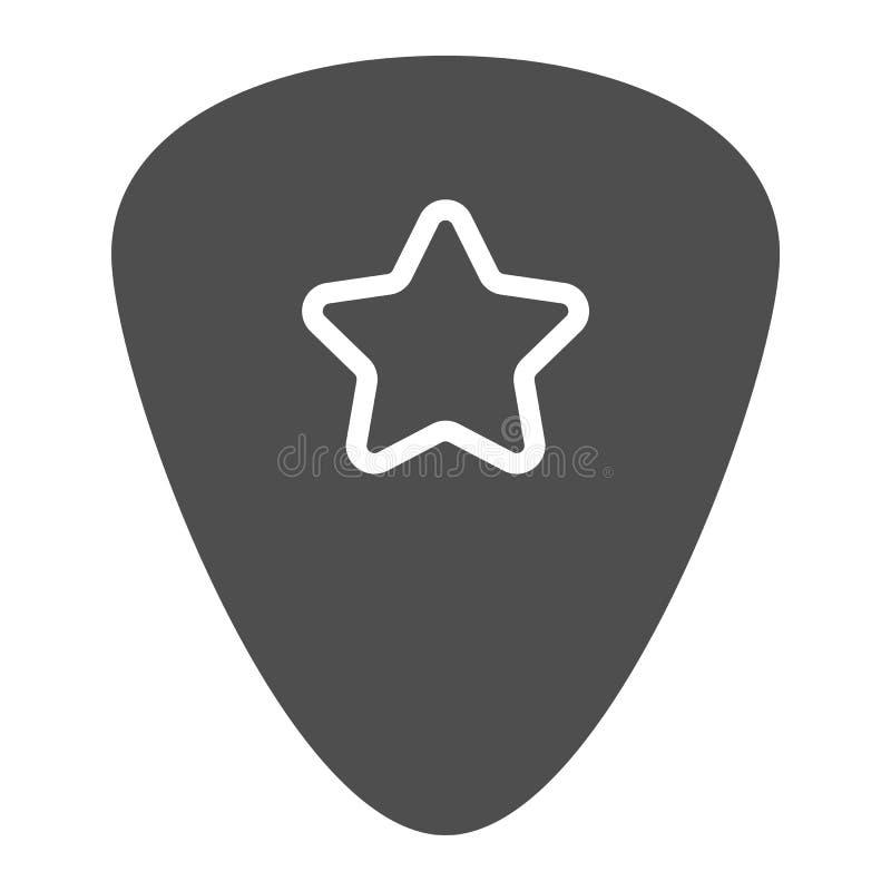 Het pictogram van de gitaaroogst glyph, musical en plectrum, bemiddelaarsteken, vectorgrafiek, een stevig patroon op een witte ac royalty-vrije illustratie