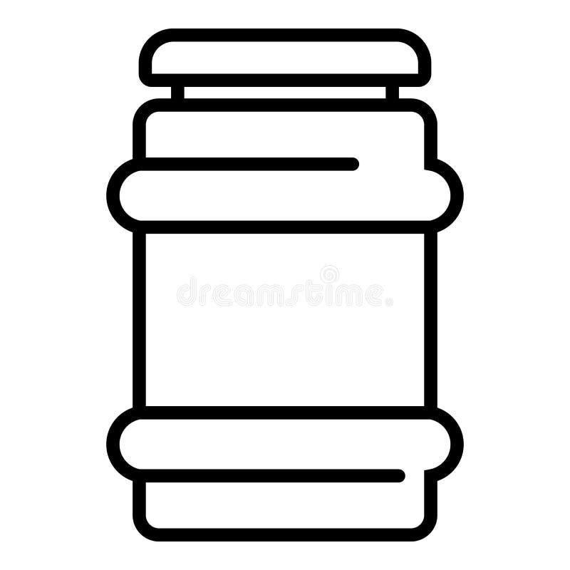 Het pictogram van de glaswerkjampot, overzichtsstijl vector illustratie