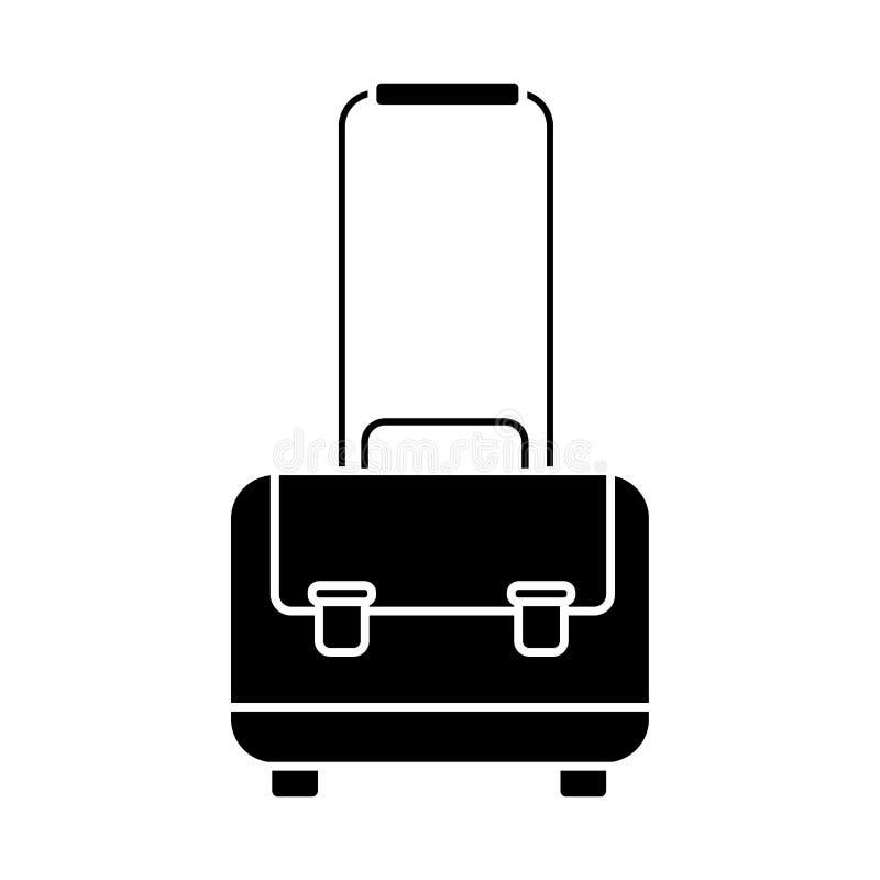 Het pictogram van de Glyphbagage Kort gevalsymbool De knoop van de reiszak stock illustratie