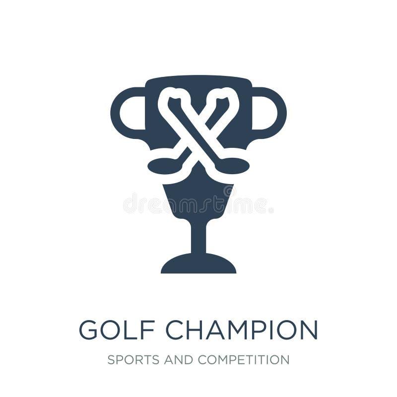 het pictogram van de golfkampioen in in ontwerpstijl het pictogram van de golfkampioen op witte achtergrond wordt geïsoleerd die  vector illustratie