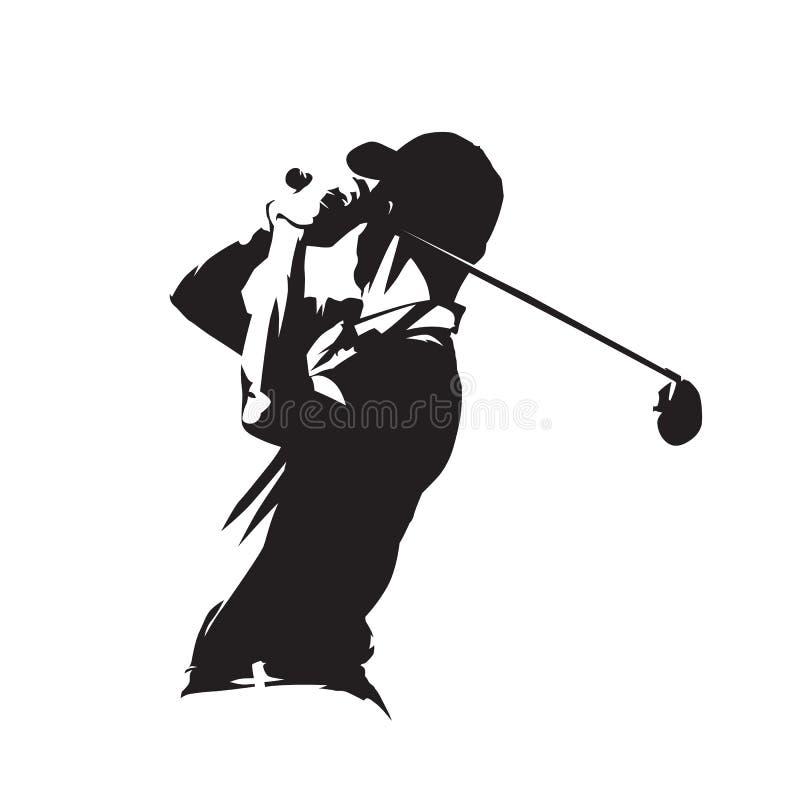 Het pictogram van de golfspeler, golfspeler vectorsilhouet stock illustratie