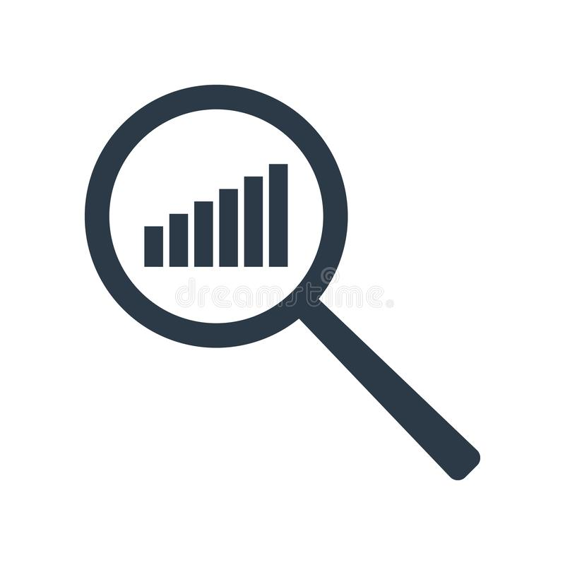 Het pictogram van de grafiek Verhogingsprogramma in meer magnifier Analyse en van Statistiekengegevens symbool Vector illustratie vector illustratie