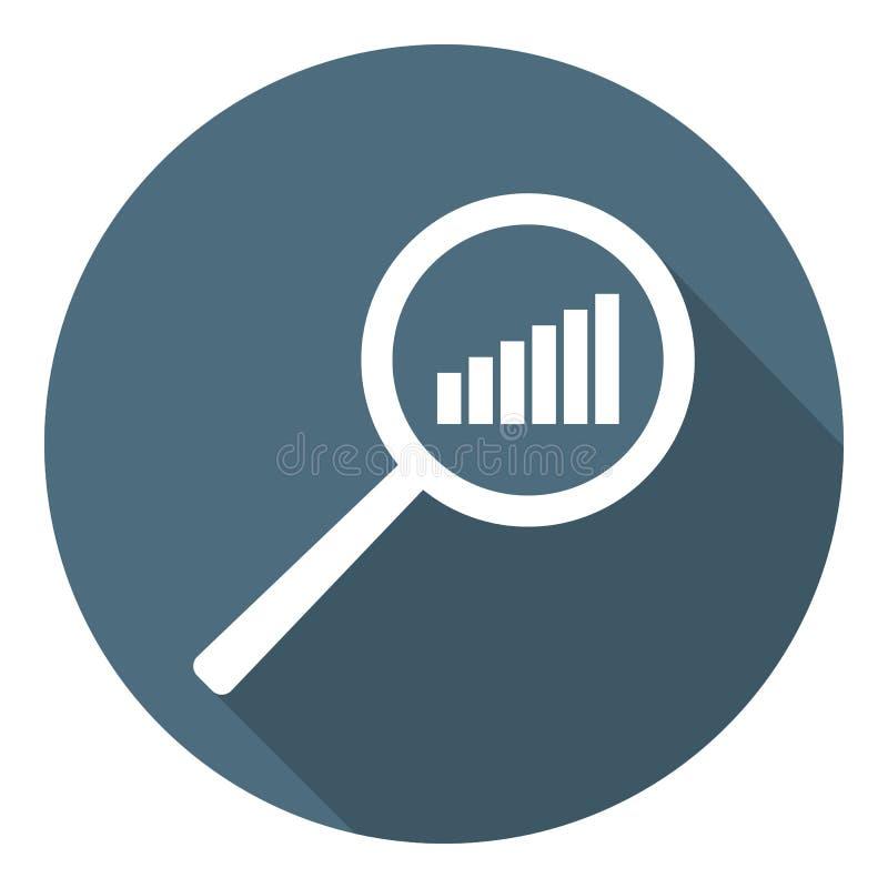 Het pictogram van de grafiek Verhogingsprogramma in meer magnifier Analyse en van Statistiekengegevens symbool Vlakke stijl Vecto royalty-vrije illustratie