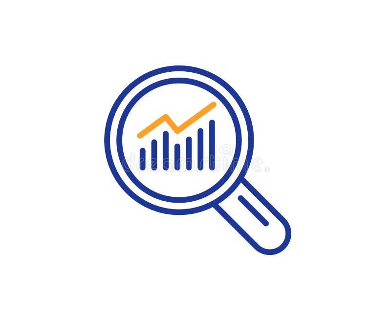 Het pictogram van de grafieklijn Het teken van de rapportgrafiek in meer magnifier Vector stock illustratie